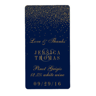 Navy Blue & Glam Gold Confetti Wedding Wine Bottle Shipping Label