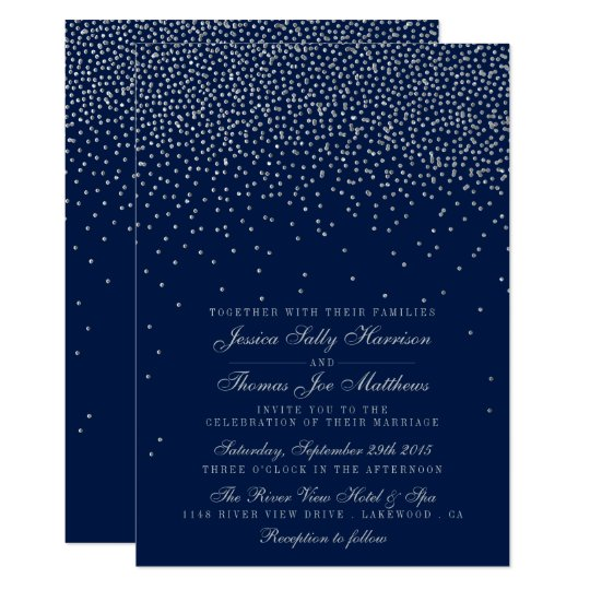 Navy Blue & Glam Silver Confetti Wedding Card