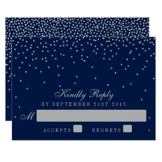 Navy Blue & Glam Silver Confetti Wedding RSVP Card