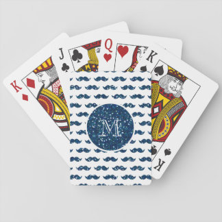 Navy Blue Glitter Mustache Pattern Your Monogram Playing Cards