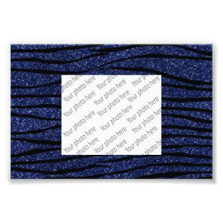 Navy blue glitter zebra stripes photo art