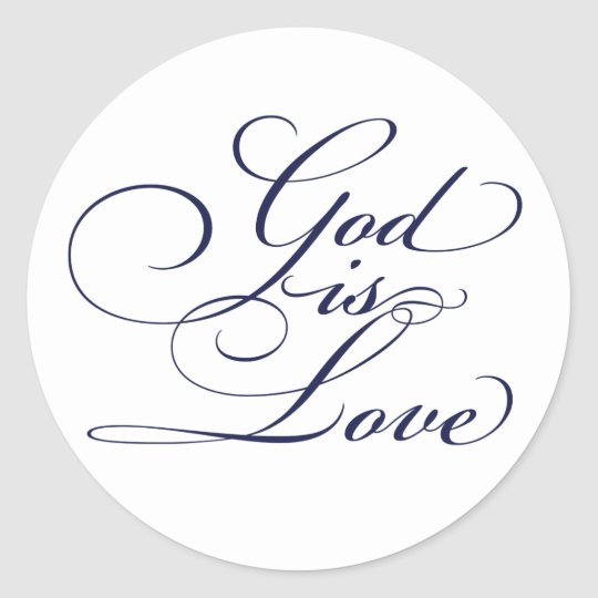 Navy Blue God is Love Christian Wedding Stickers