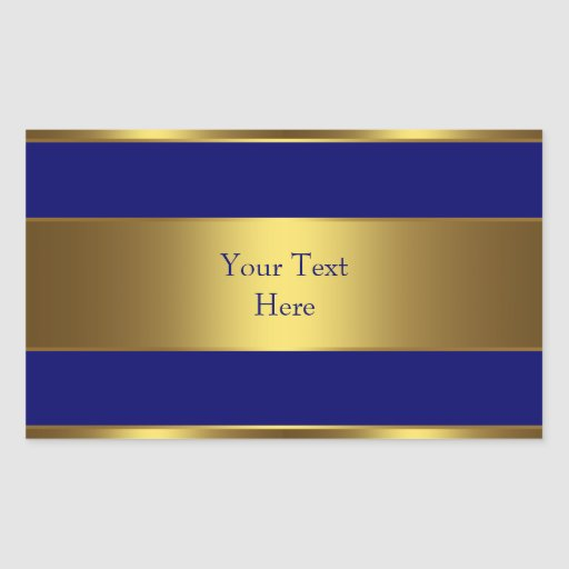 Navy Blue Gold Address Envelope Seal Labels Rectangular Sticker