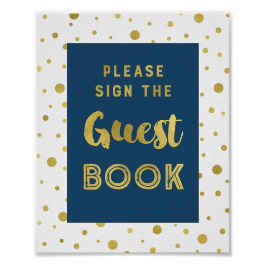 Navy Blue Gold Confetti Guest Book Wedding Sign