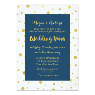 Navy Blue Gold Confetti Vow Renewal Invitation