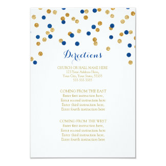 Navy Blue Gold Confetti Wedding Direction Insert Card