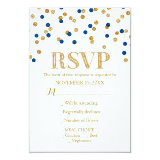 Navy Blue Gold Confetti Wedding RSVP Cards
