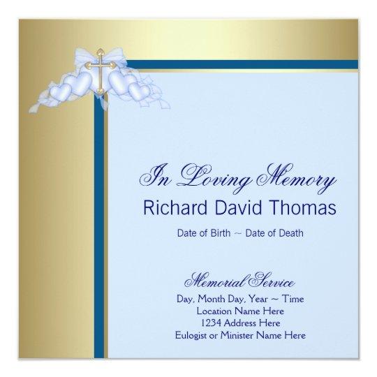 Navy Blue Gold Cross In Loving Memory Memorial