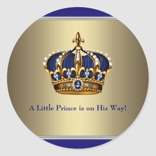 Navy Blue Gold Crown Prince Baby Shower Sticker