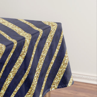 Navy Blue & Gold diagonal stripes Tablecloth