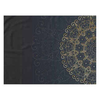 Navy Blue Gold Elegant Mandala Tablecloth
