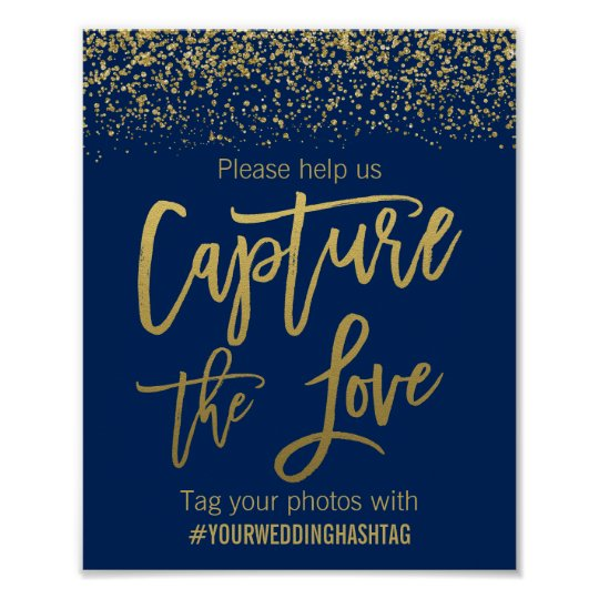Navy Blue Gold Faux Glitter Wedding Hashtag Sign