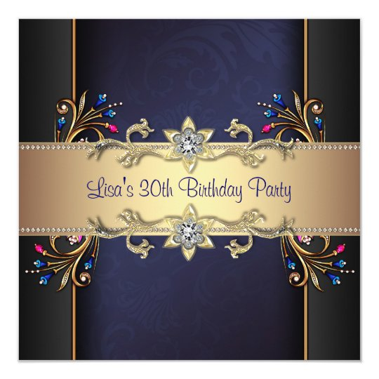 Navy Blue Gold Flowers Womans 30th Birthday Card