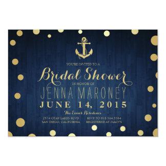 Navy Blue Gold Foil Anchor Nautical Bridal Shower Card