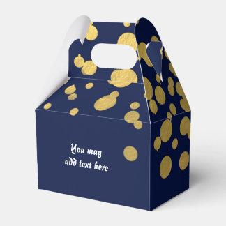 Navy Blue & Gold Foil Confetti Party Favor Boxes