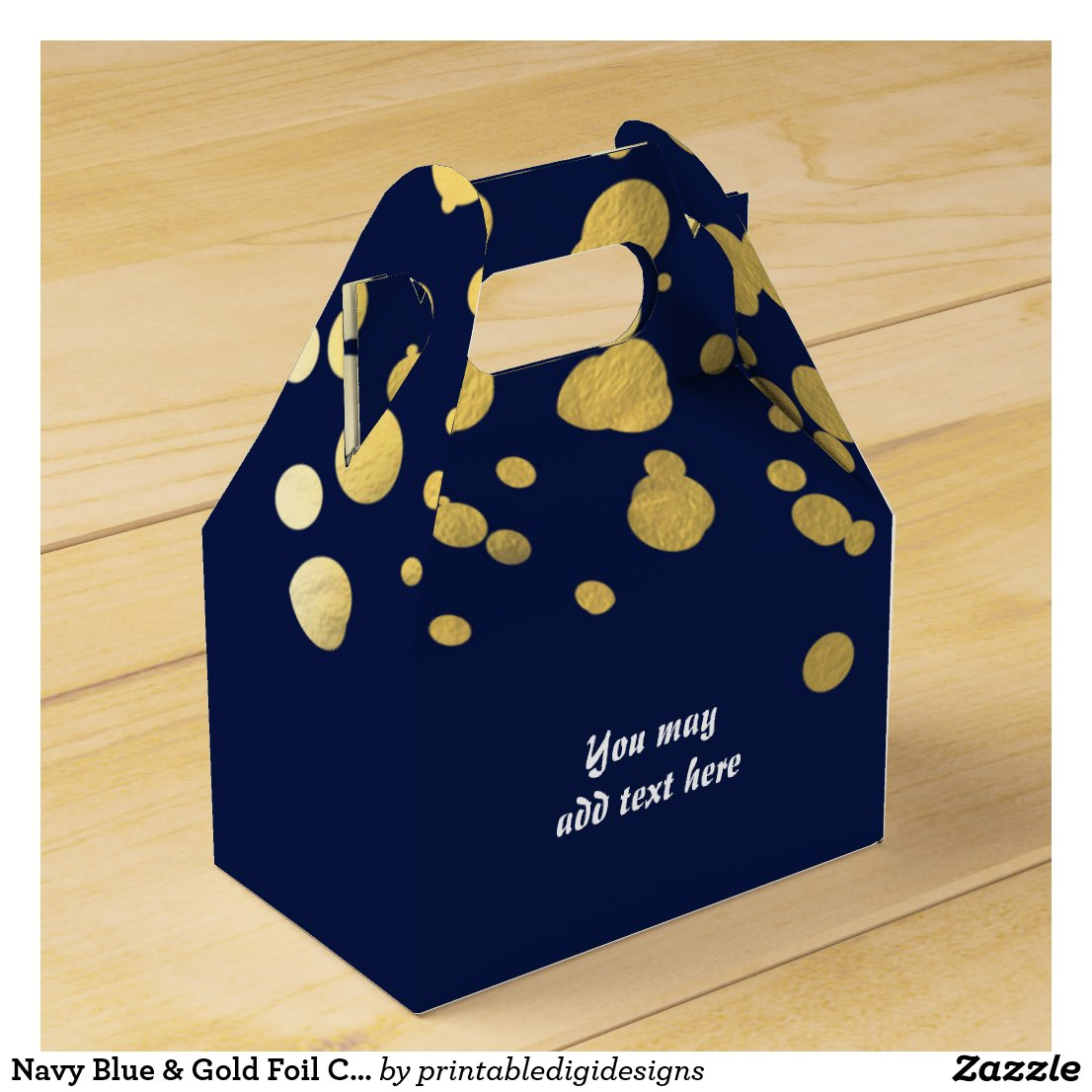 Navy Blue & Gold Foil Confetti Party Favour Boxes