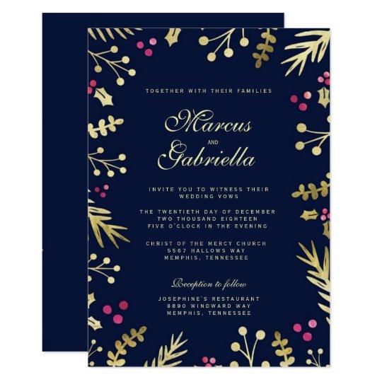 29170052b340 Navy Blue Gold Foil Holly Berry Christmas Wedding Invitation ...