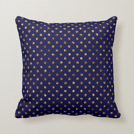 Navy Blue Gold Glitter Polka Dots Throw Pillow