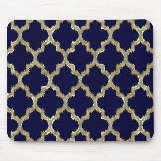 Navy Blue & Gold Ikat Tribal Geometric Pattern Mouse Pad