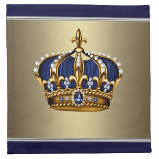 Navy Blue Gold King Prince Crown Cocktail Napkins