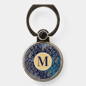 Navy Blue Gold Leaves Monogram Initial Phone Ring Stand