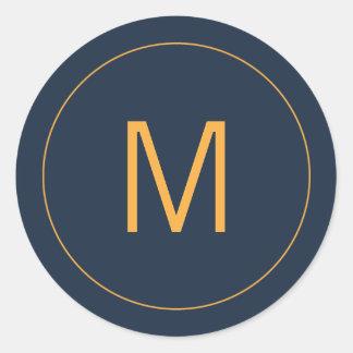Navy Blue & Gold Monogram Seal Round Sticker
