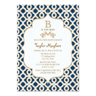 Navy Blue Gold Moroccan Gender Neutral Baby Shower 13 Cm X 18 Cm Invitation Card