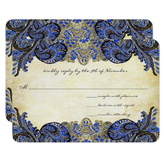 Navy Blue Gold Paisley Peacock Colours Wedding Card