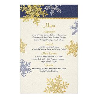 Navy Blue Gold Snowflakes Winter Wedding Menu Card 14 Cm X 21.5 Cm Flyer