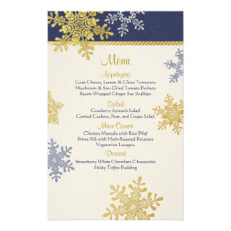 Navy Blue Gold Snowflakes Winter Wedding Menu Card Personalized Flyer