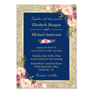 Navy And Gold Wedding Invitations Announcements Zazzlecouk