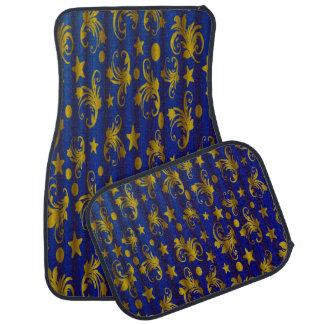 Navy Blue Gold Stars Moon Damask Set of 4 Car Mats Floor Mat