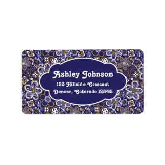 Navy Blue Gold Whimsical Floral Return Address Label