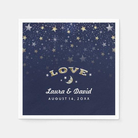 Navy Blue Gold & White LOVE Moon &