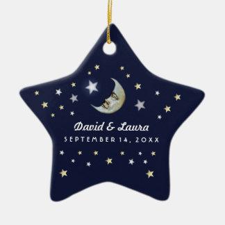 Navy Blue Gold & White Moon & Stars Wedding Custom Christmas Ornament