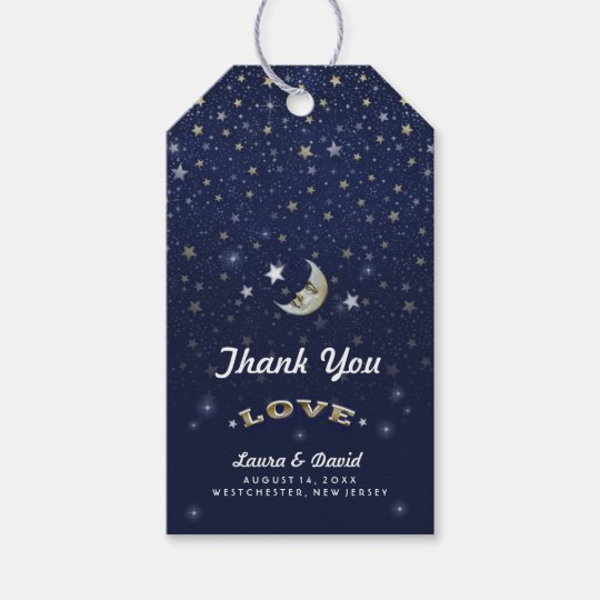 Navy Blue Gold & White Moon & Stars