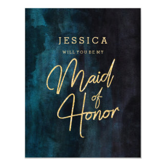 Navy Blue & Gold Will You Be My Maid of Honour Card