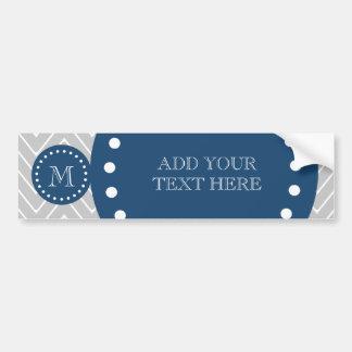Navy Blue, Gray Chevron Pattern | Your Monogram Bumper Sticker