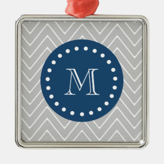 Navy Blue, Gray Chevron Pattern | Your Monogram Christmas Ornament