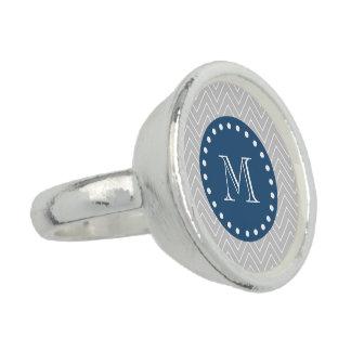 Navy Blue Gray Chevron Pattern Your Monogram Rings