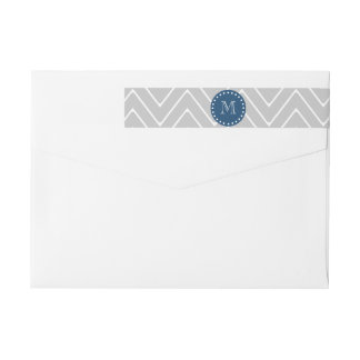 Navy Blue, Gray Chevron Pattern | Your Monogram Wrap Around Label