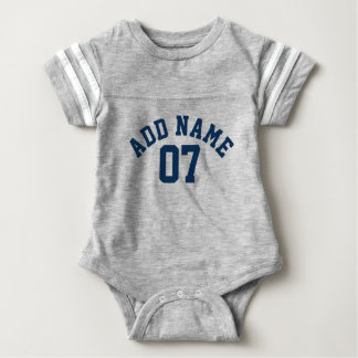 Navy Blue & Gray Sports Jersey Custom Name Number Baby Bodysuit