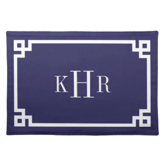Navy Blue Greek Key Border Custom Monogram Placemat