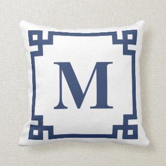 Navy Blue Greek Key Border Monogram Throw Pillow