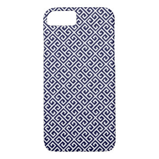 Navy Blue Greek Key Pattern iPhone 7 Case