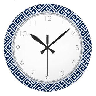 Navy Blue Greek Key Pattern Large Clock