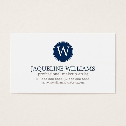 Navy Blue Greek Key Pattern Monogram Business Card
