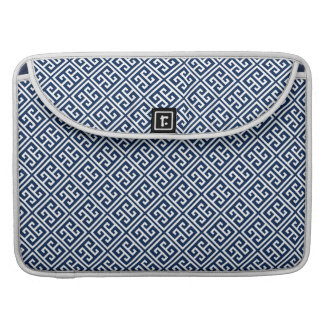 Navy Blue Greek Key Pattern Sleeve For MacBook Pro