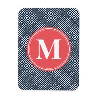 Navy Blue Greek Key Pattern Watermelon Monogram Rectangle Magnet