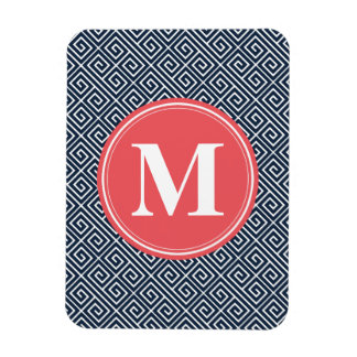 Navy Blue Greek Key Pattern Watermelon Monogram Rectangular Photo Magnet